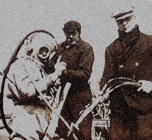 History of marine construction_photo of surface air diver